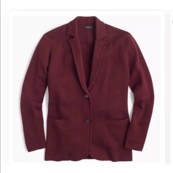 J. Crew Sweaters - J.CREW MERINO WOOL XS sweater-blazer Burgundy d0a7669af